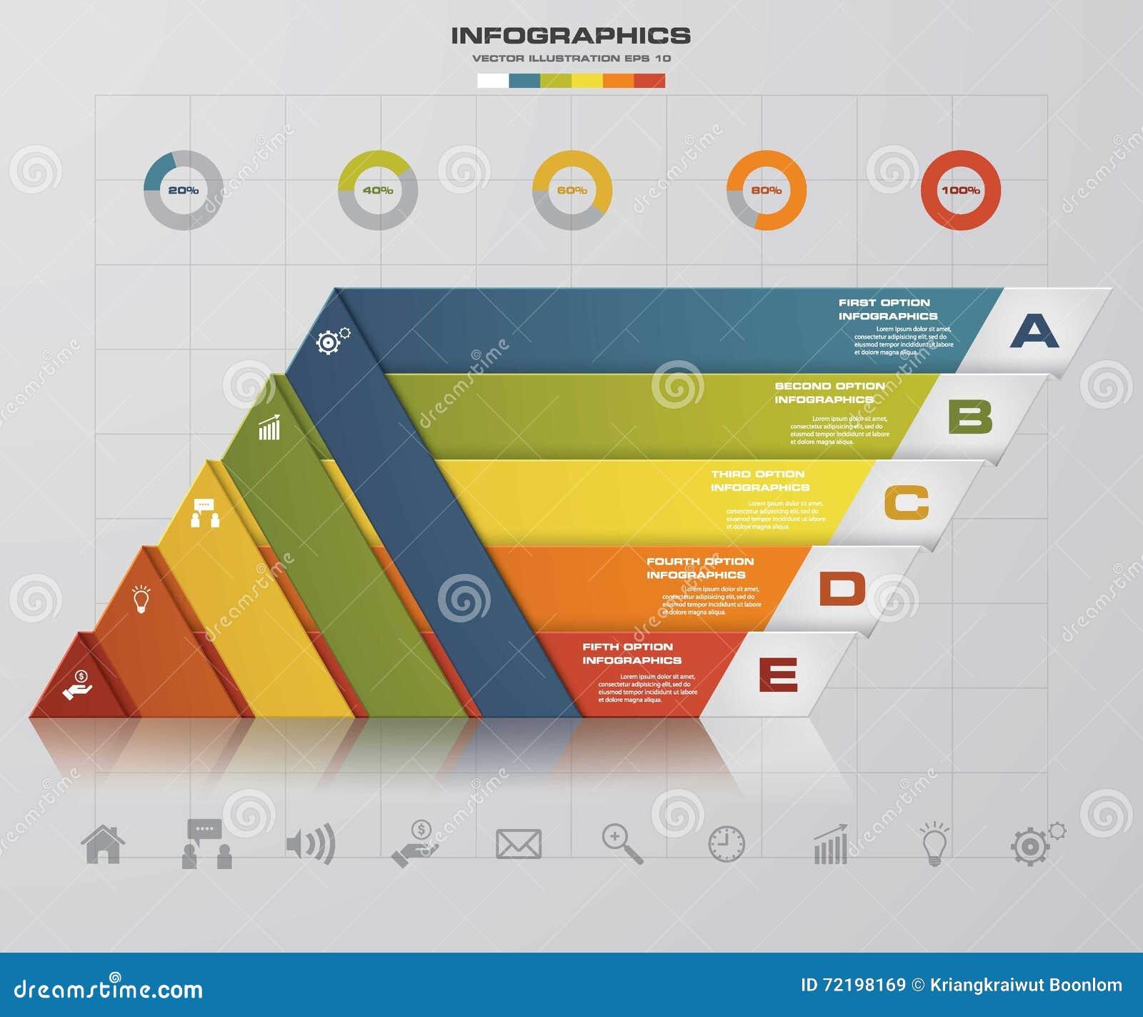 5 opzioni della presentazione template/5 di punti traversano il grafico di forma o la disposizione volando del sito Web