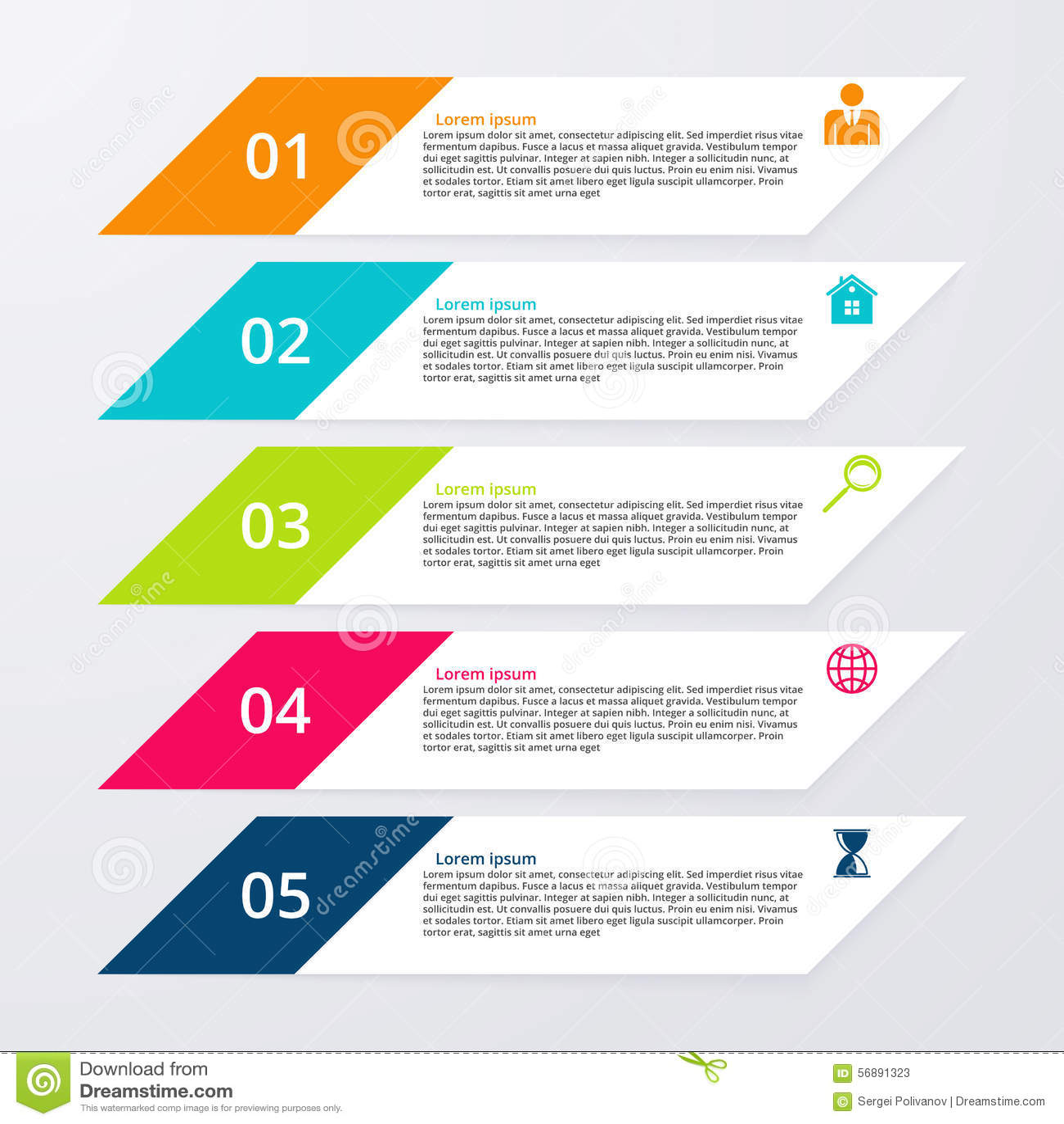 Opzioni infographic dell illustrazione di vettore cinque