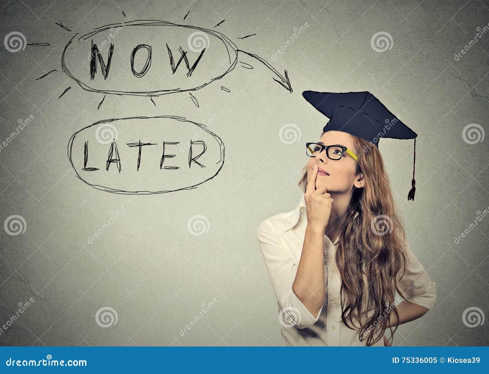 Ora o più successivamente Cercare di pensiero della studentessa