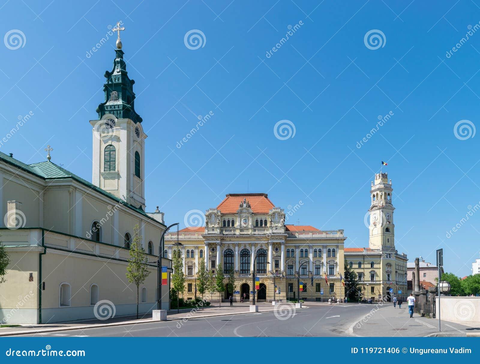 ORADEA, ΡΟΥΜΑΝΊΑ - 28 ΑΠΡΙΛΊΟΥ 2018: Το κέντρο Oradea δίπλα στο τετράγωνο ένωσης