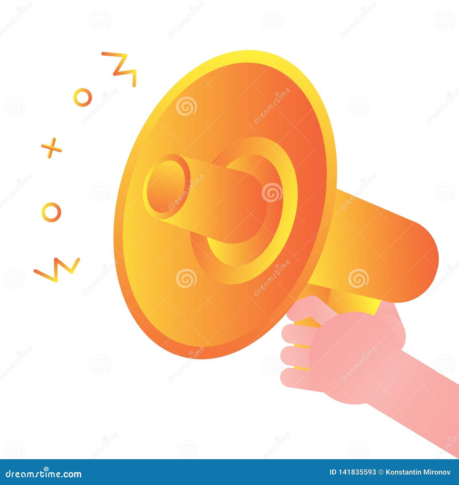 Orador alto do megafone da posse da mão