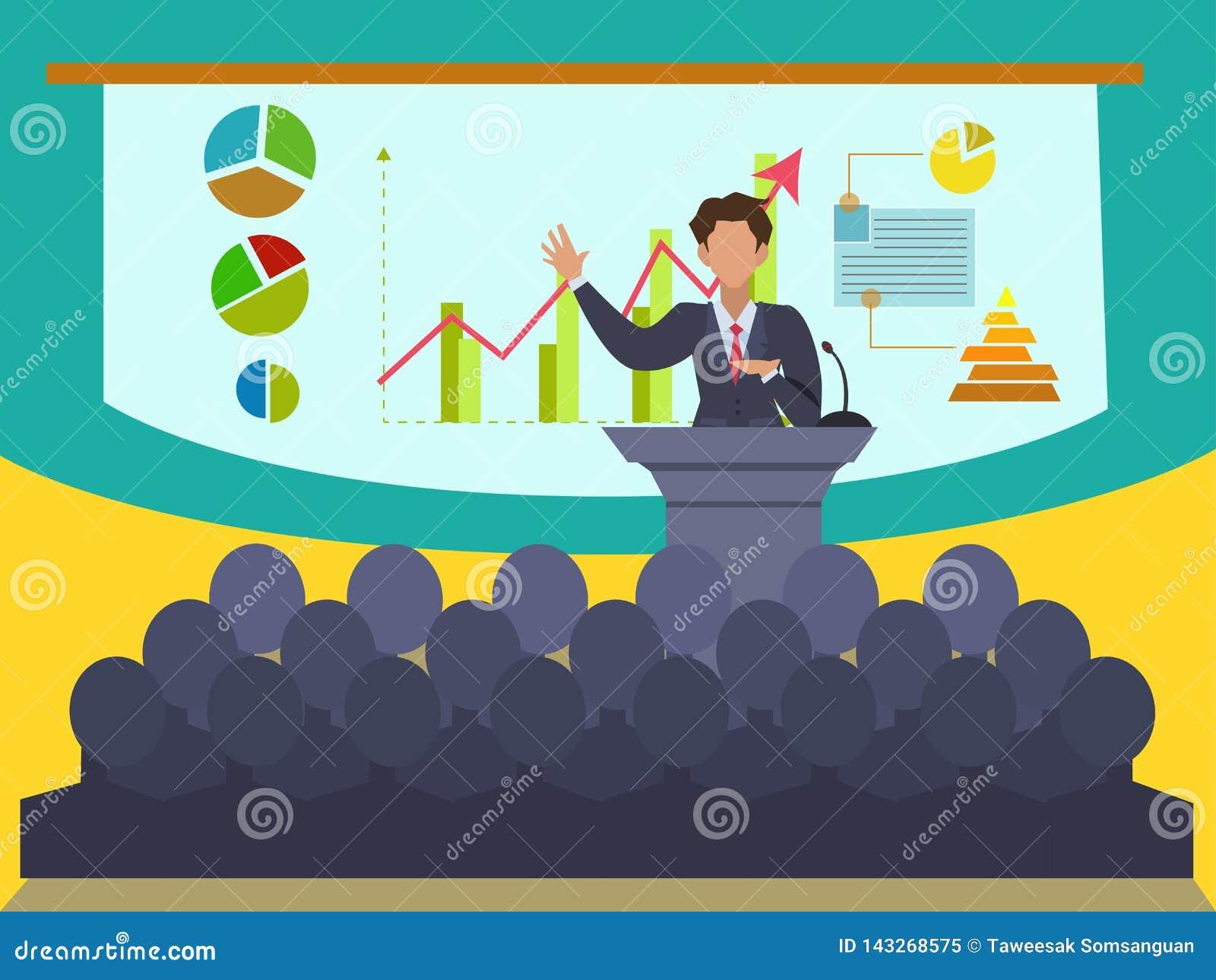 Orador na convenção e na apresentação do negócio