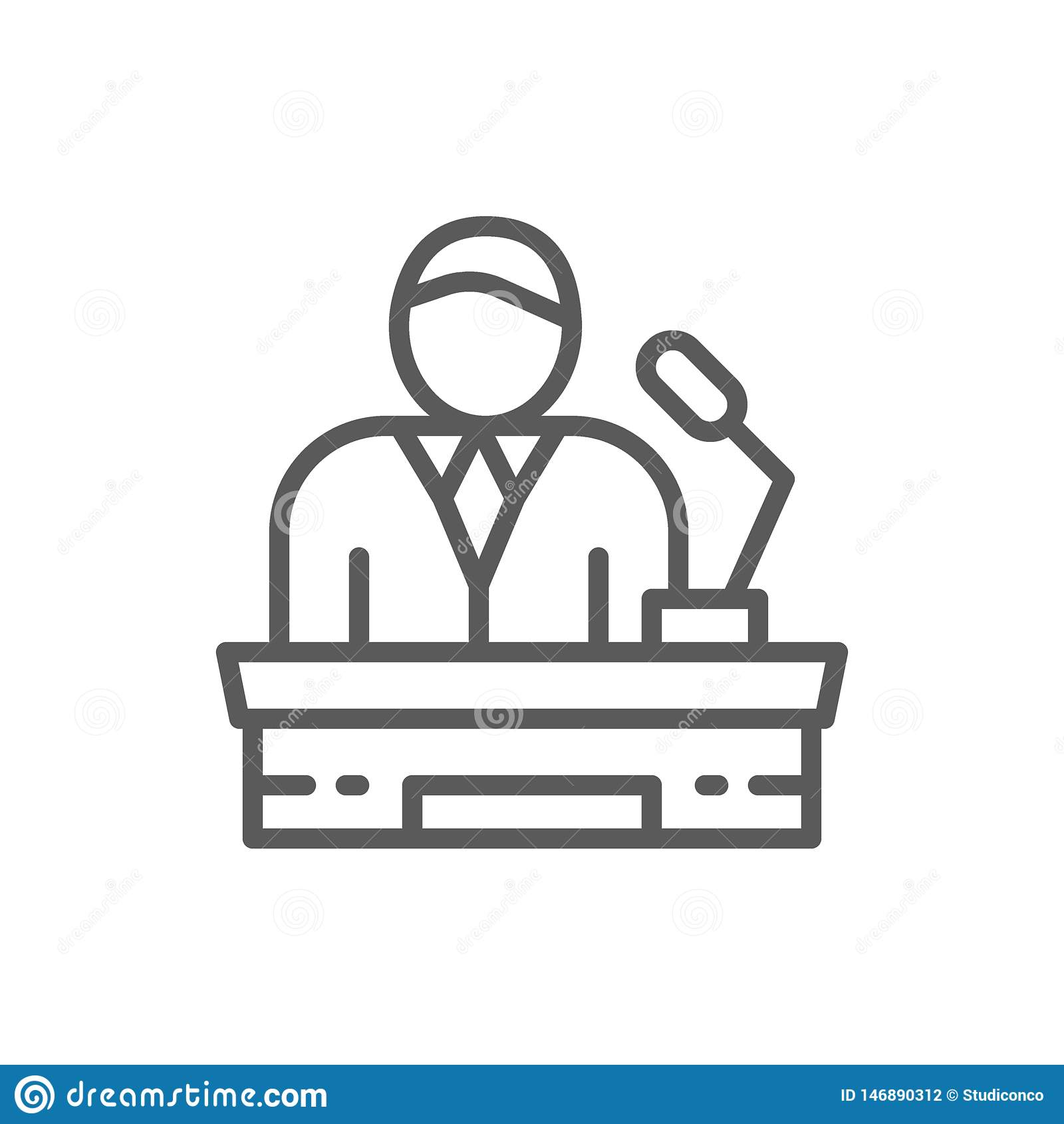 Orador na tribuna, apresentação do projeto, presidente, linha de líder ícone
