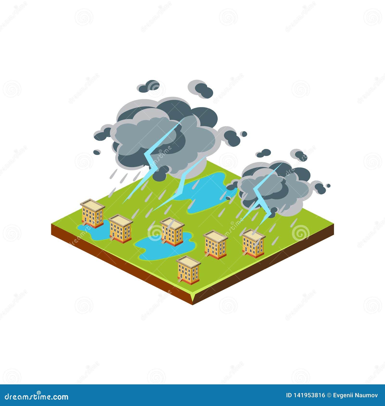 Orage Icône de catastrophe naturelle Illustration de vecteur