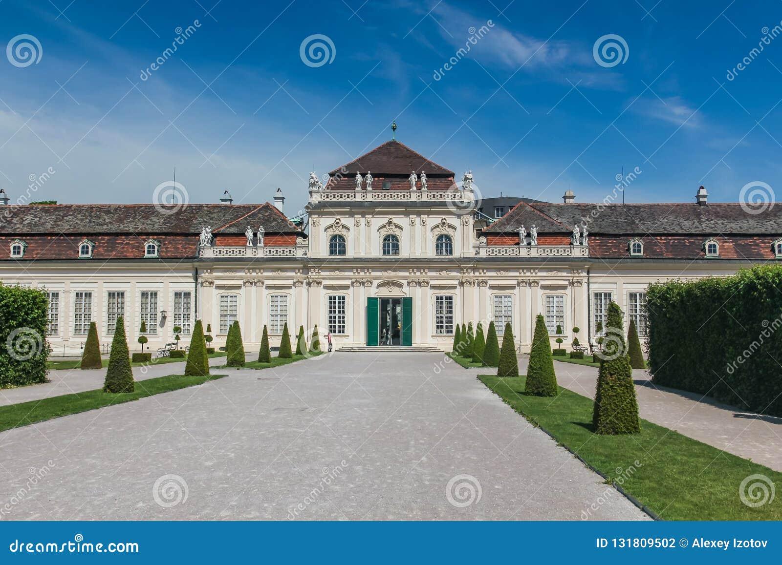 Oranżeria, niski belwederu pałac uprawia ogródek, Wien, Wiedeń, Austria