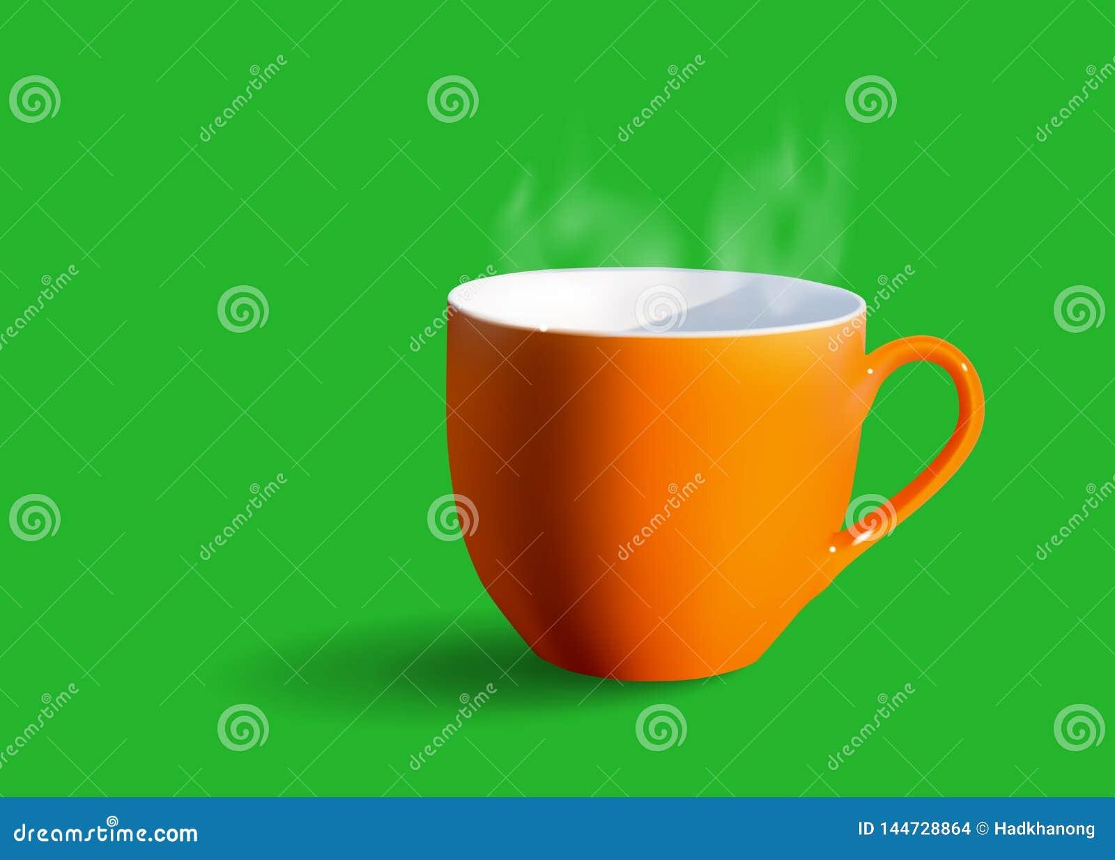 Orane咖啡与白色烟的在绿色背景