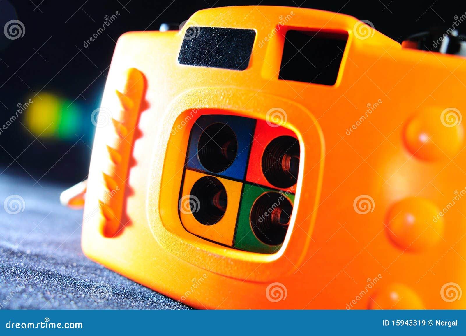 Orange 4-frame toy camera create 4 frame story in one shot.