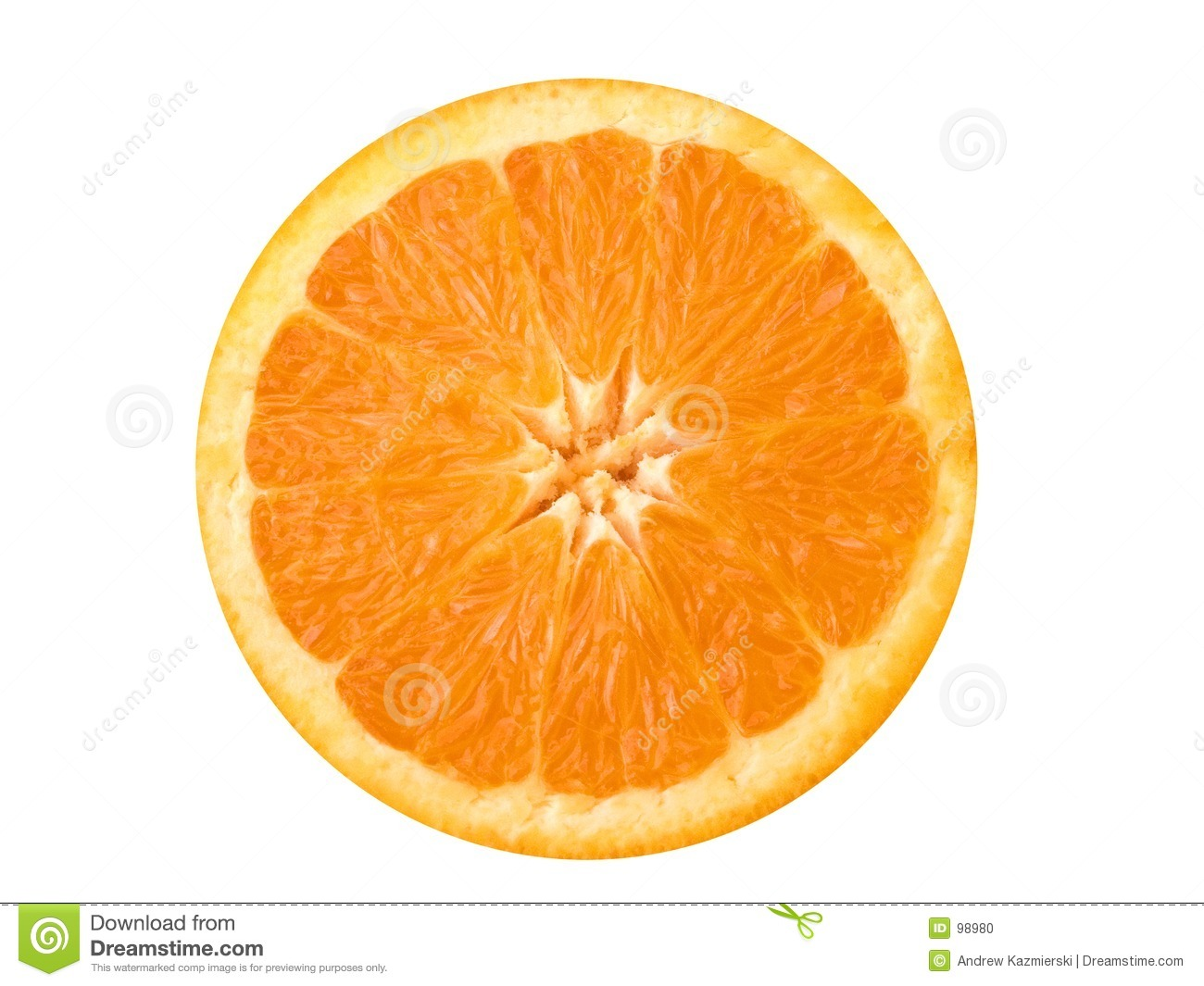 This is a close-up of an orange cut in half.