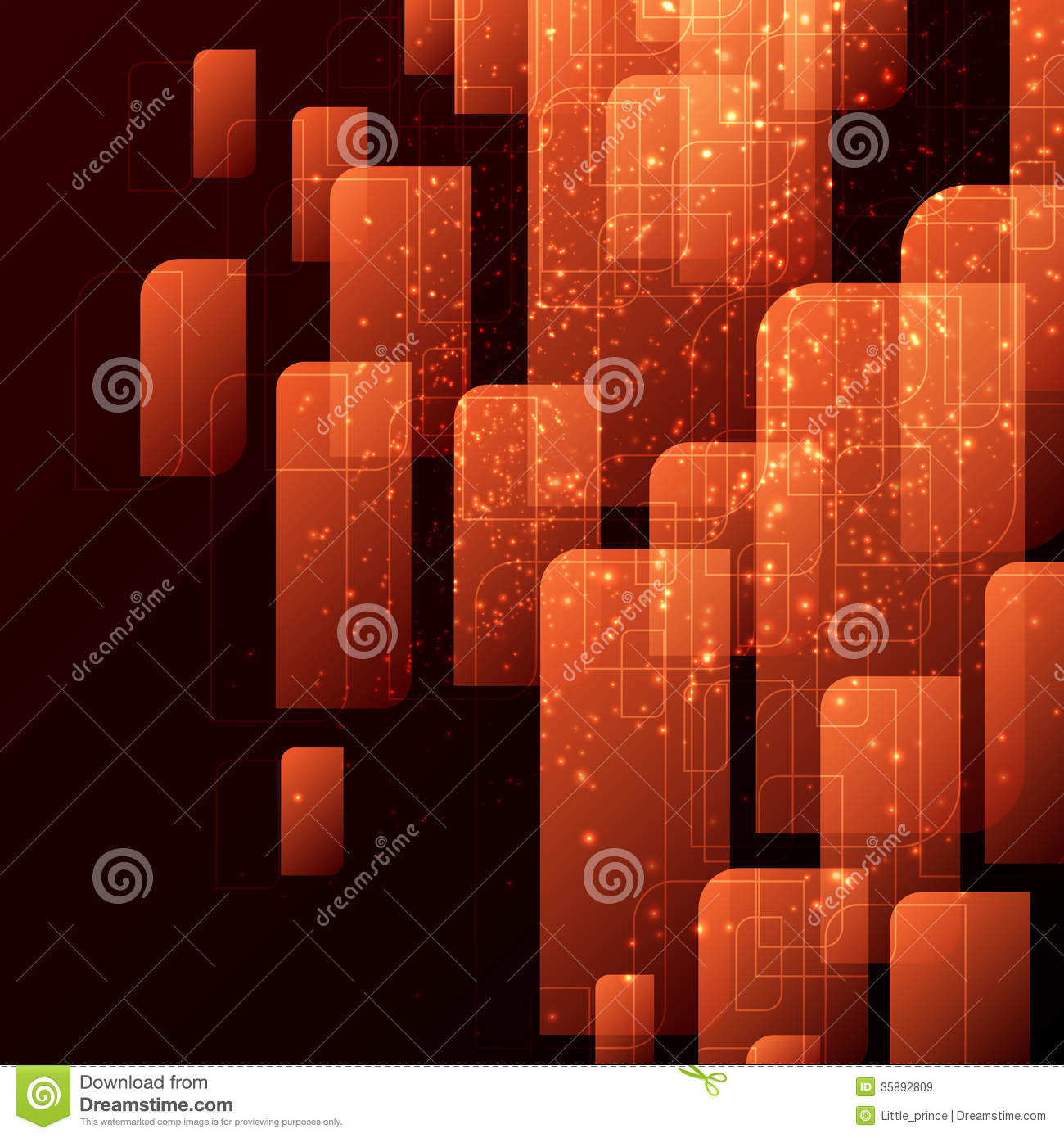 Orange and black techno abstract background