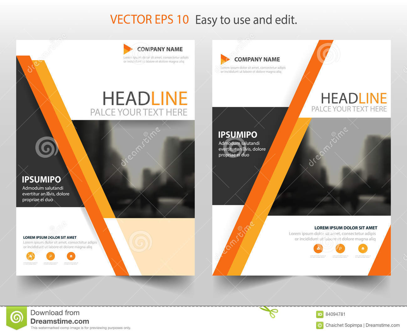 orange abstract triangle annual report brochure flyer design, Presentation Abstract Template, Presentation templates