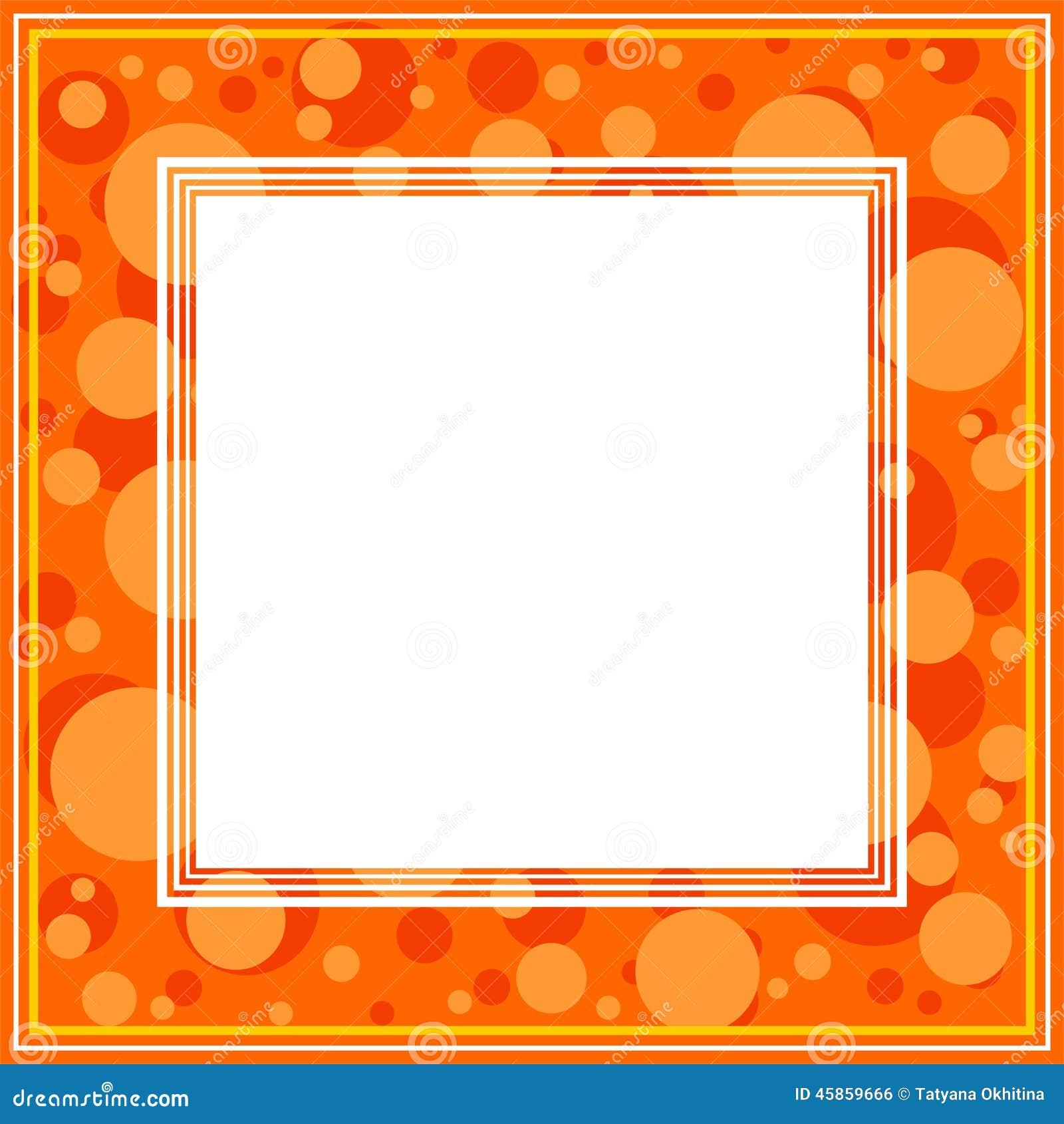 Abstrakte grenze mit punkten auf einem orange hintergrund