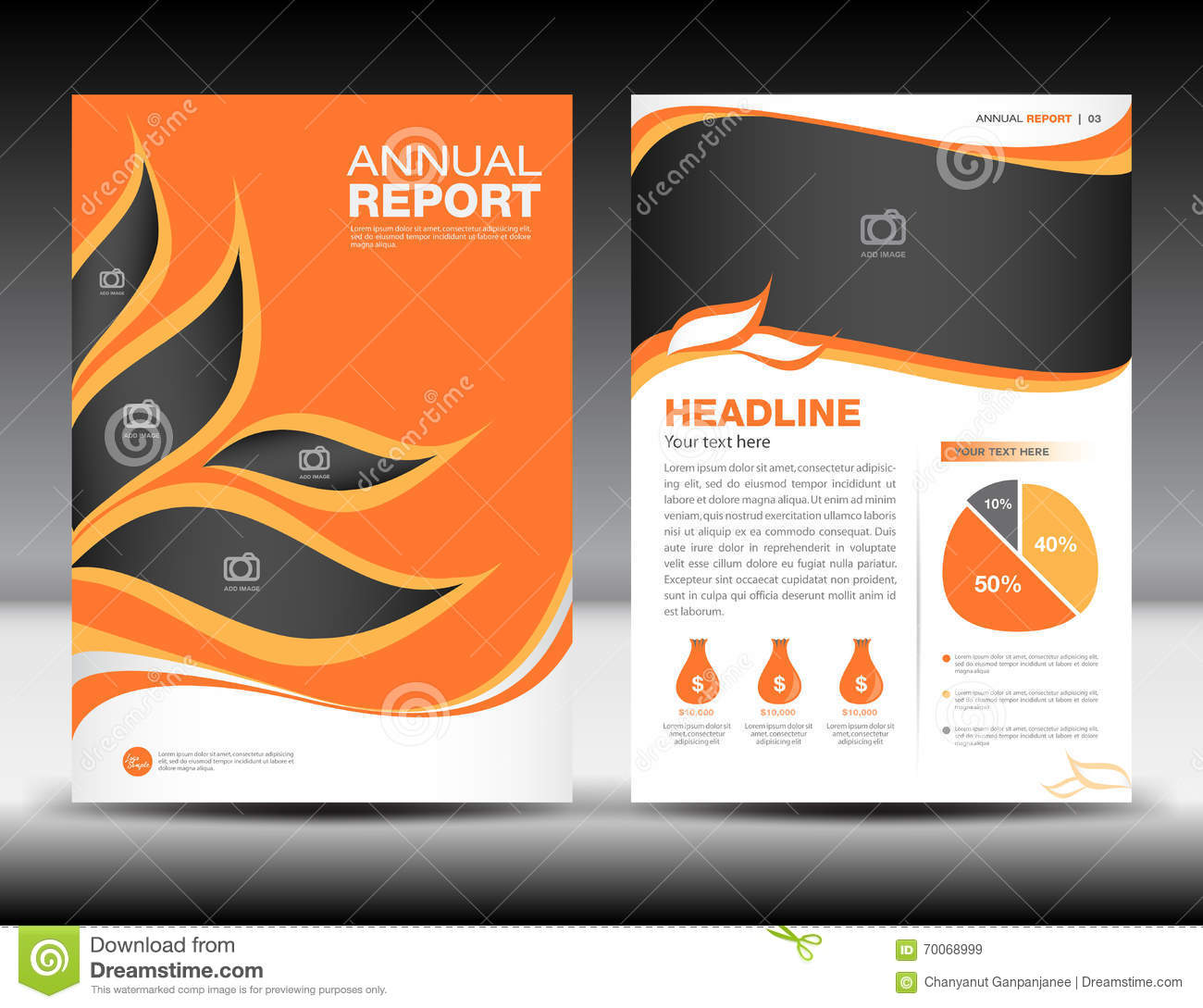 Orange annual report template cover design brochure fl yer for Graphic design brochure