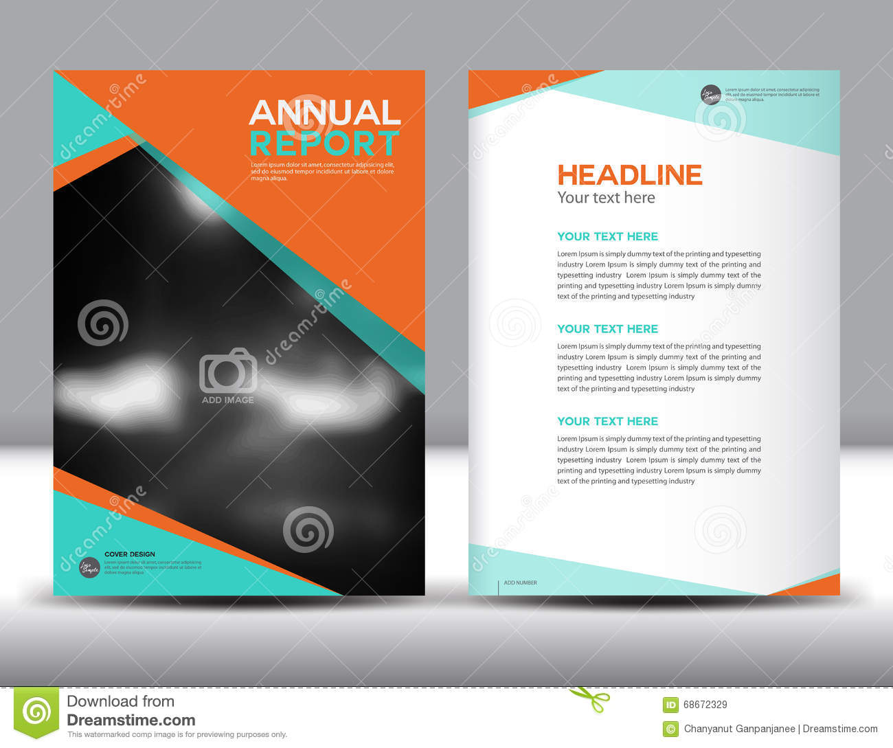 Good Orange Annual Report Template Vector Illustration