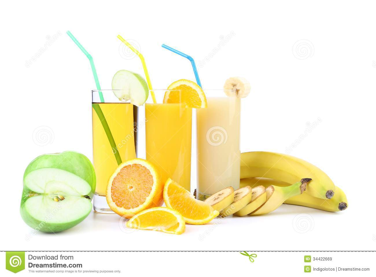 Orange Apple And Banana Juice Royalty Free Stock Images