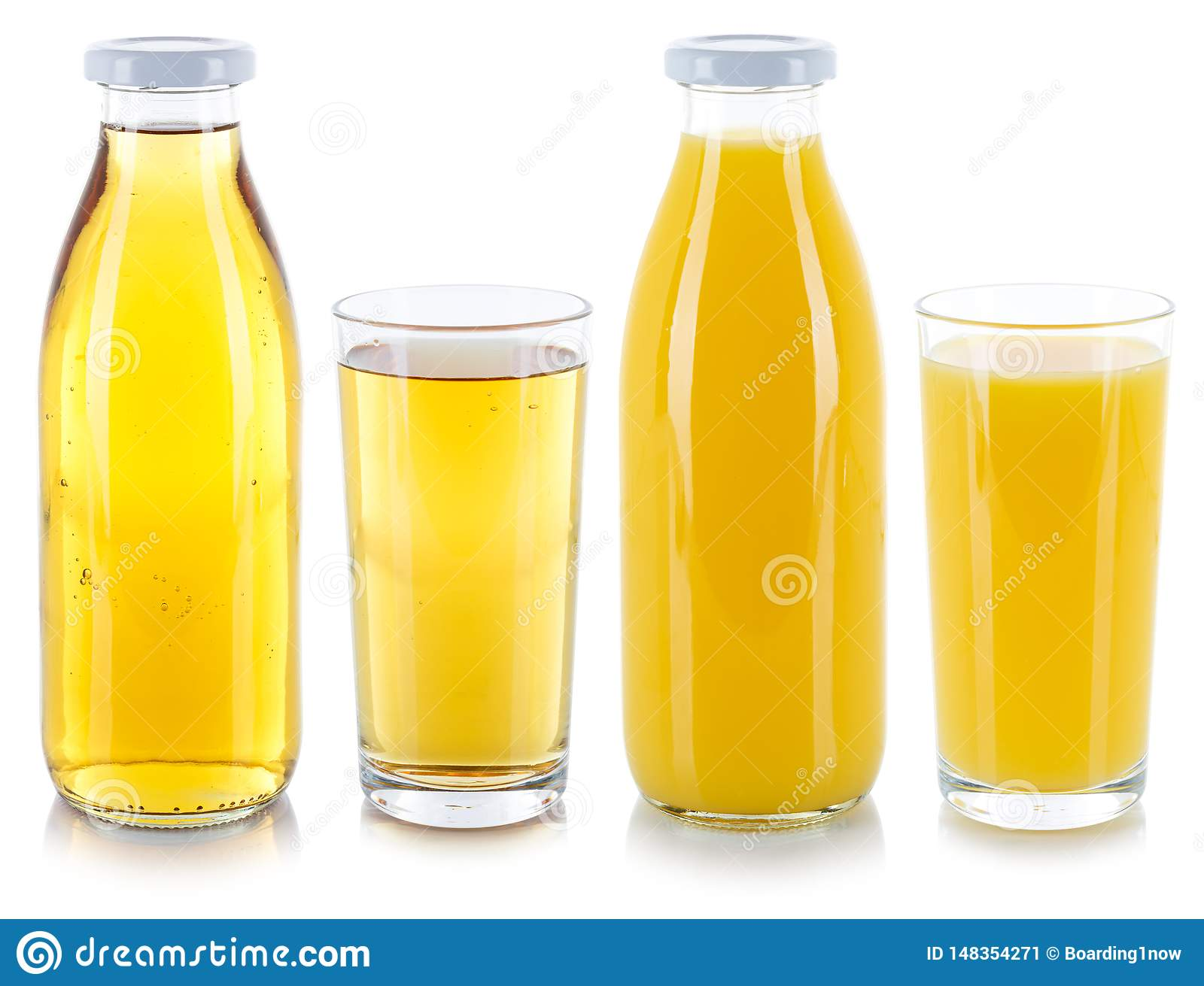 Orange and apple juice drink drinks in a bottle and glass isolated on white