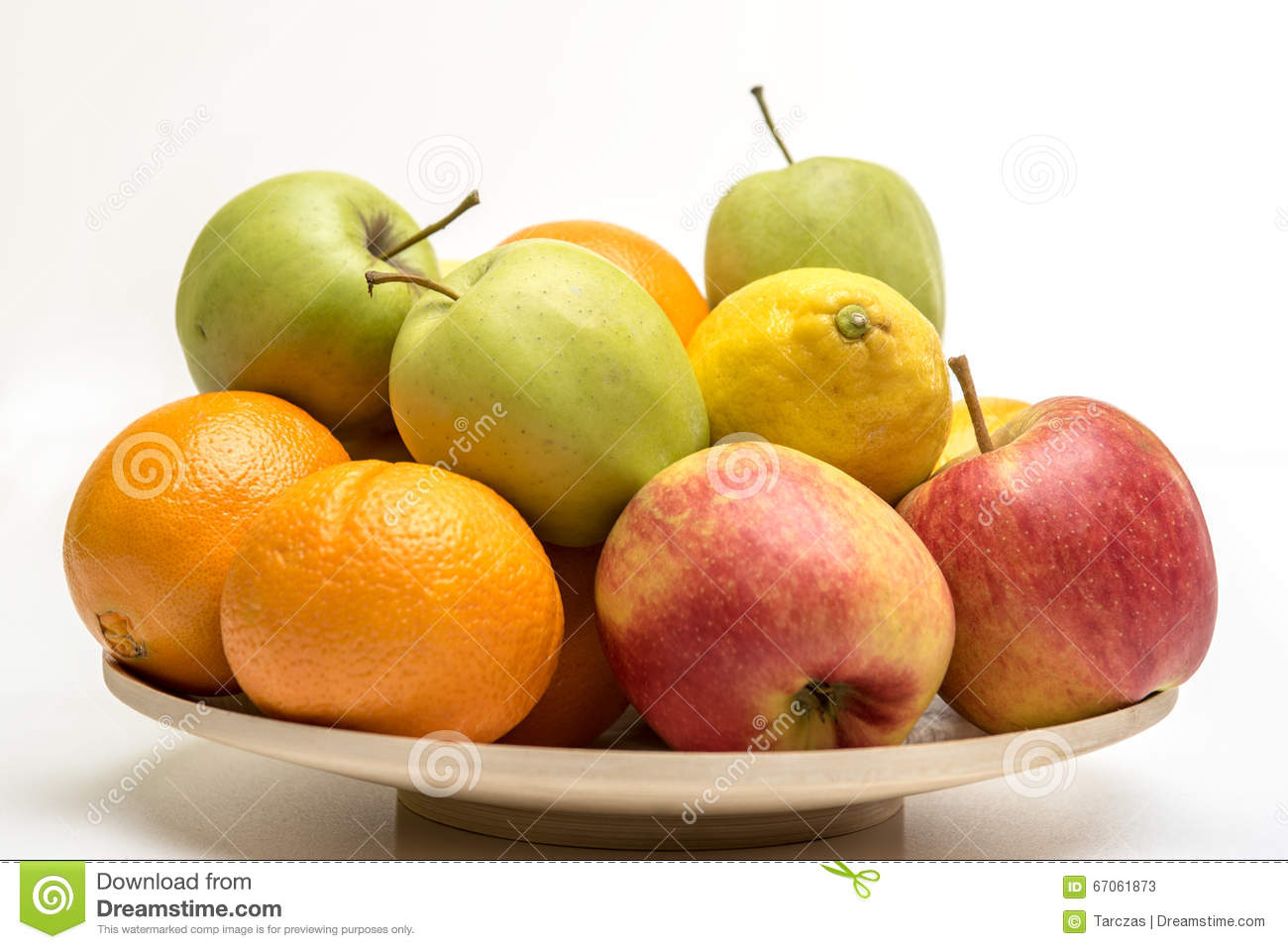 Download Orange, Apples And Banana On The Wooden Plate Stock Image - Image of health, orange: 67061873