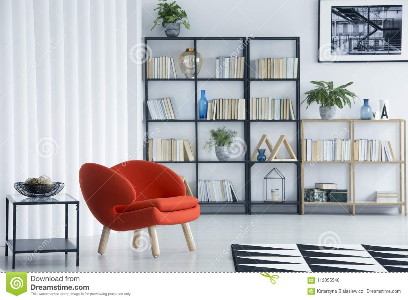 Orange Armchair In Living Room Stock Illustration ...