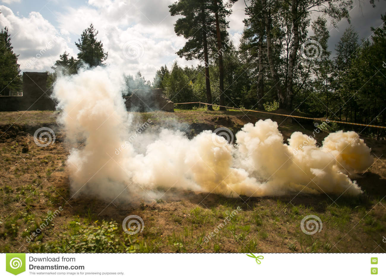 Orange army smoke bomb stock image  Image of military - 75412413