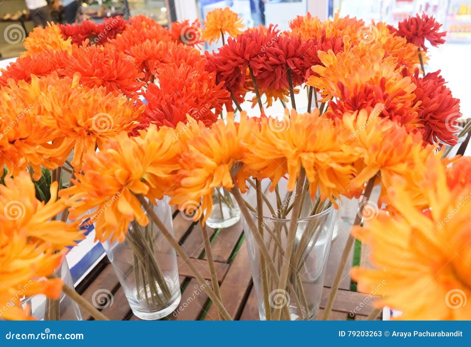 Orange artificial gerbera flowers in glass vase stock image orange artificial gerbera flowers in glass vase reviewsmspy