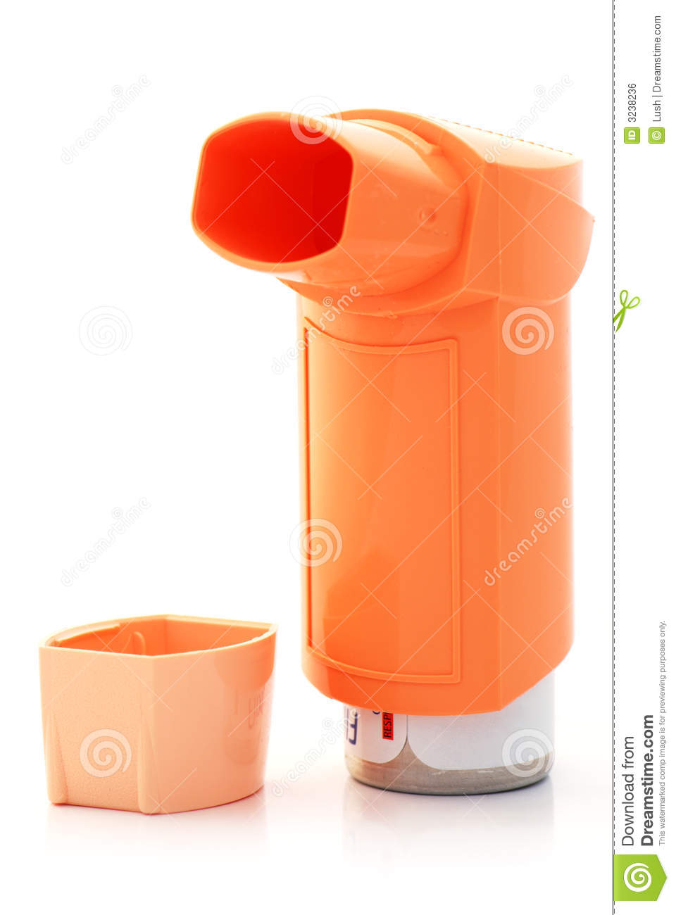 Orange Asthma Inhaler And Hood Royalty Free Stock Image
