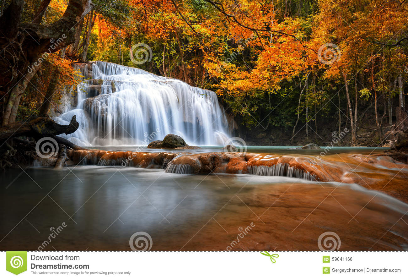 Orange Autumn Leaves On Trees In Forest And Mountain River