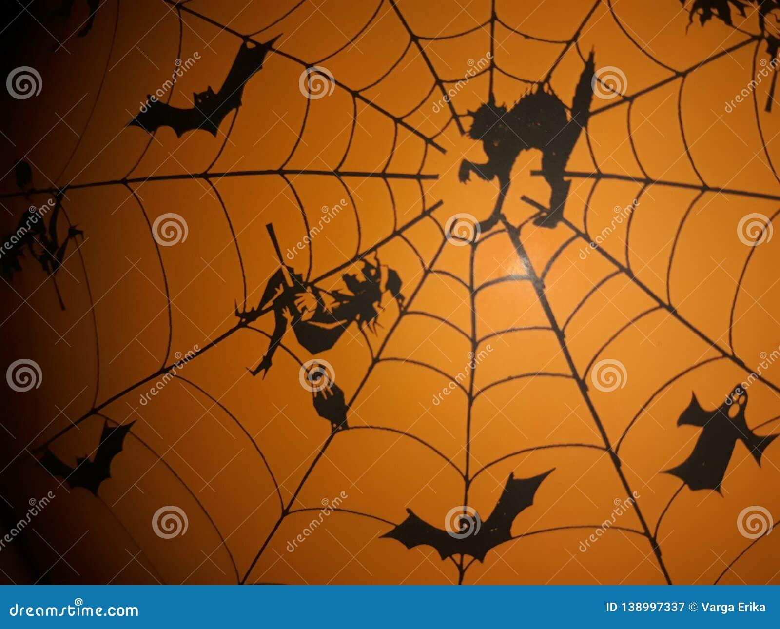 Carnival Halloween Theme.Orange Background With Carnival Halloween Theme Stock Image