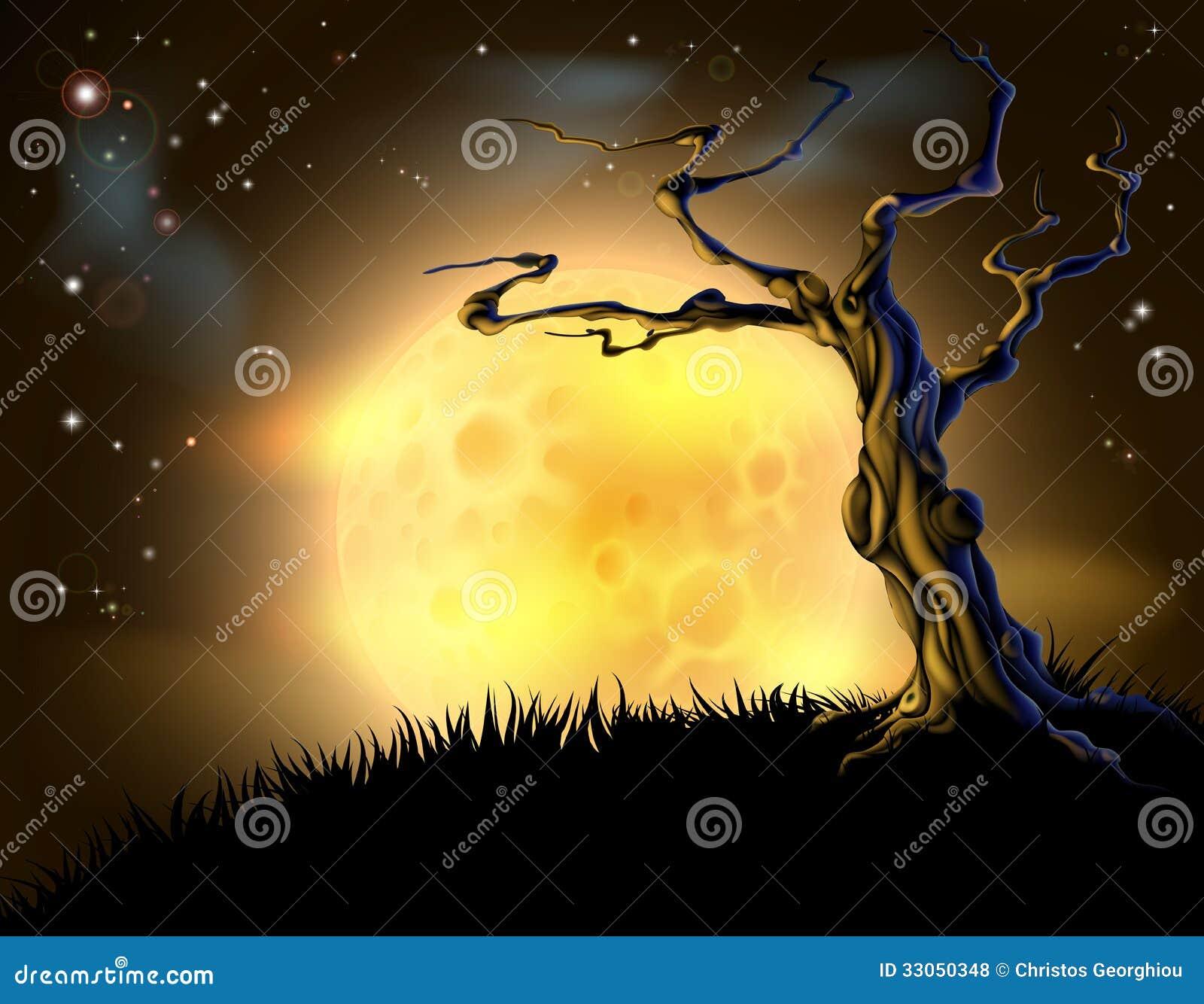 Orange bakgrund för allhelgonaaftonmåneträd