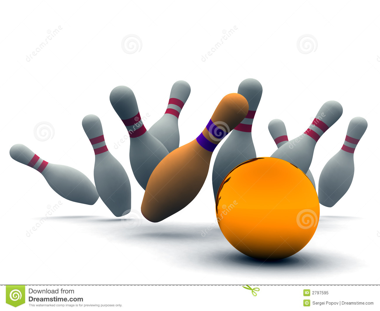 Orange ball for bowling breaking line-up of bowling pins on a white ...