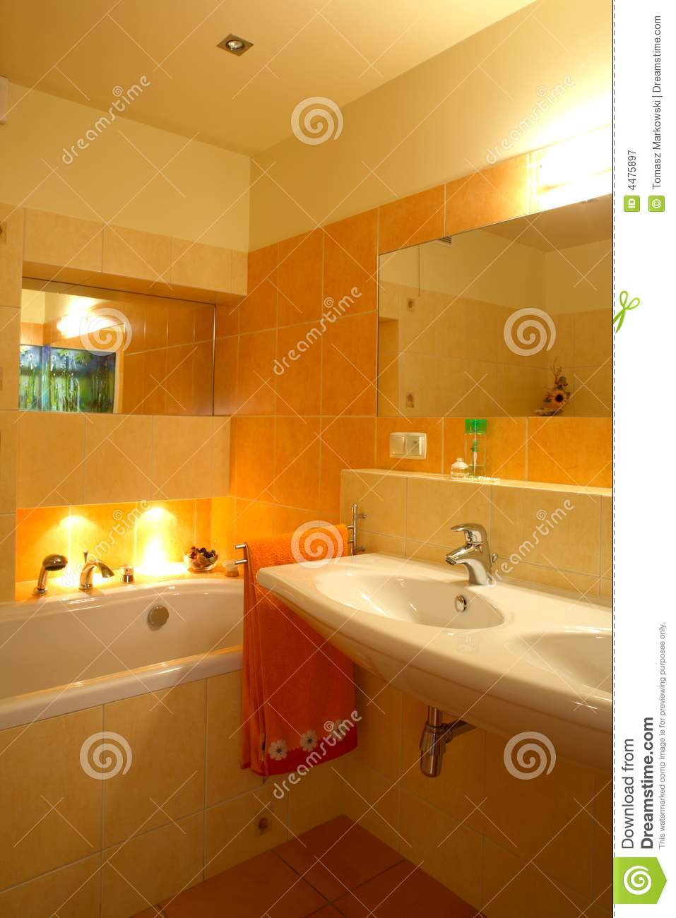 Orange Bathroom Stock Image Image Of Wall Interior