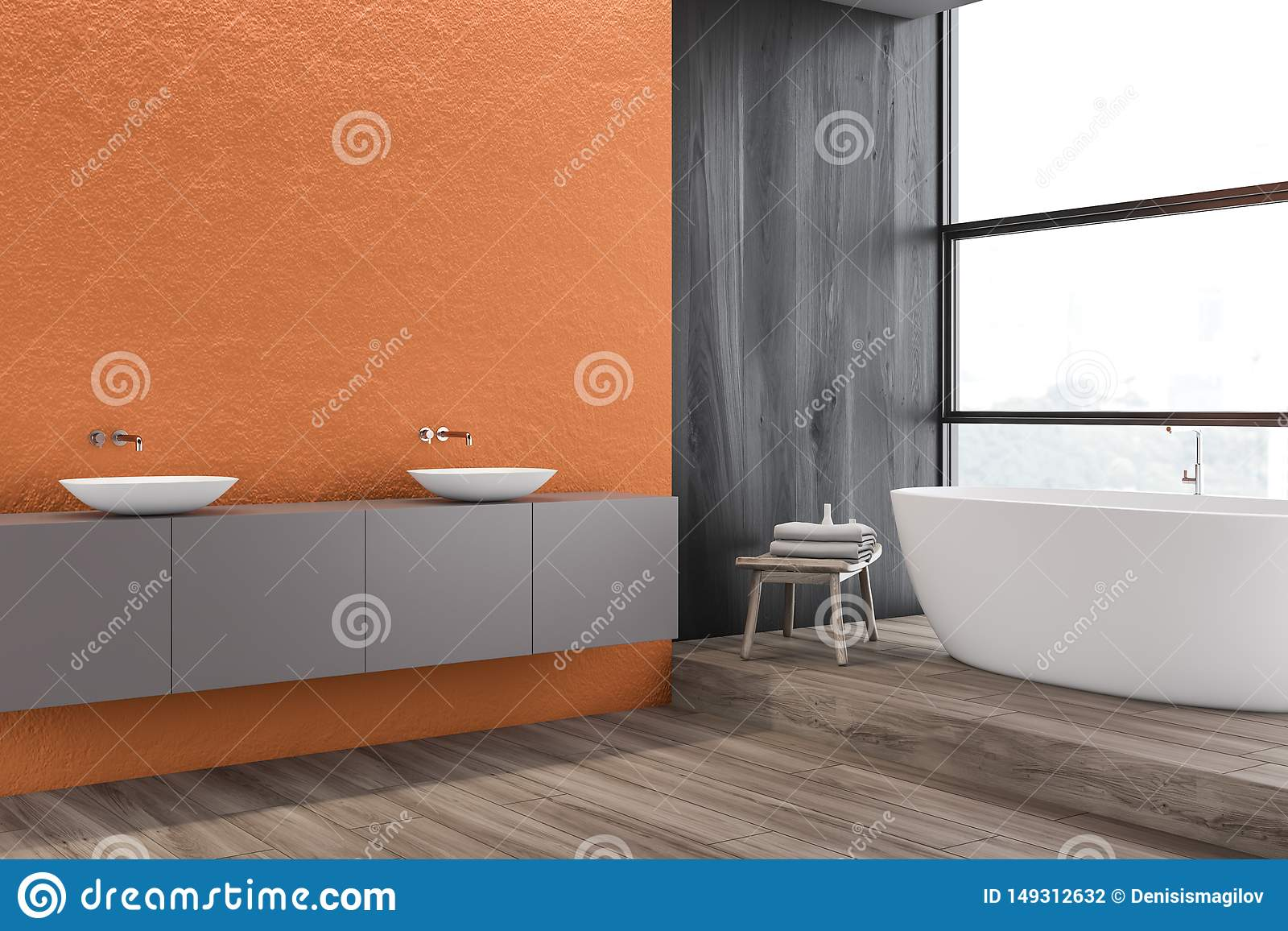 Orange Bathroom Corner Double Sink And Tub Stock Illustration
