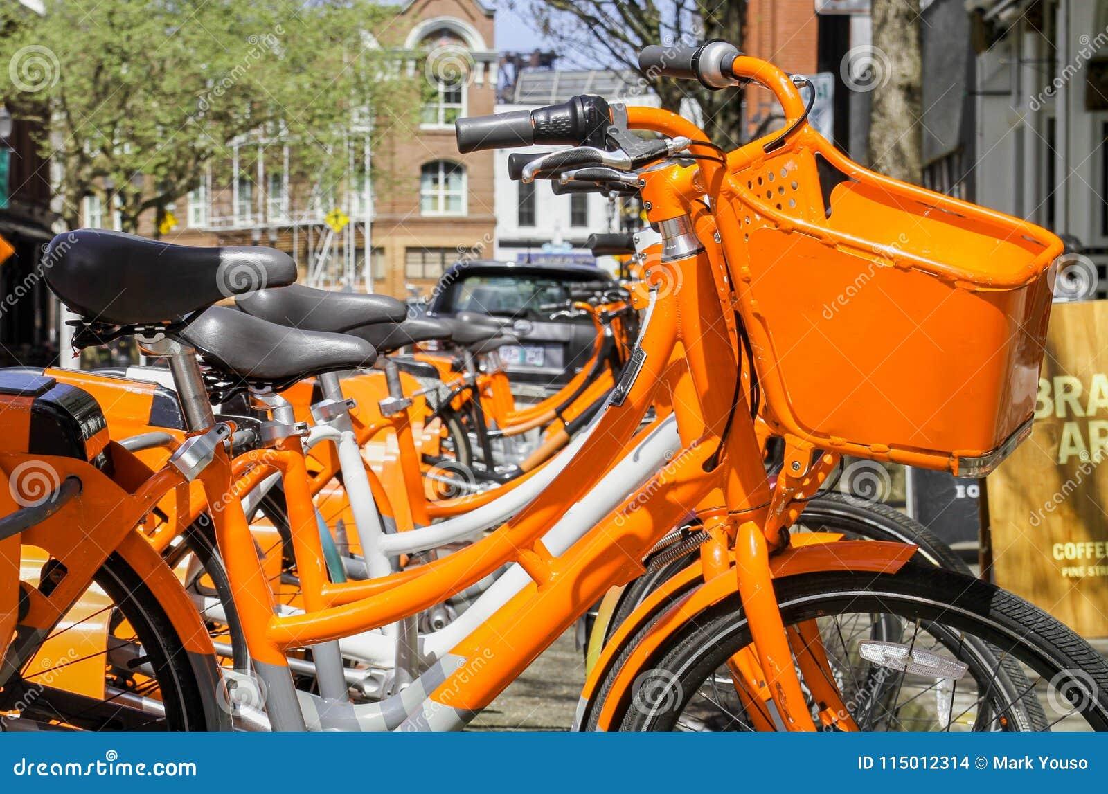Orange Bicycle Rentals in the City