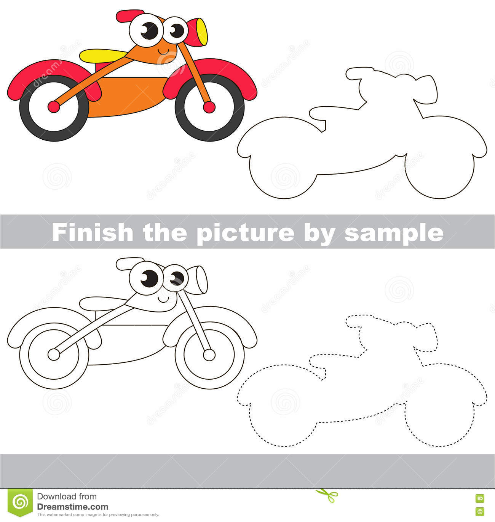 Orange Bike Drawing Worksheet Stock Vector Illustration Of