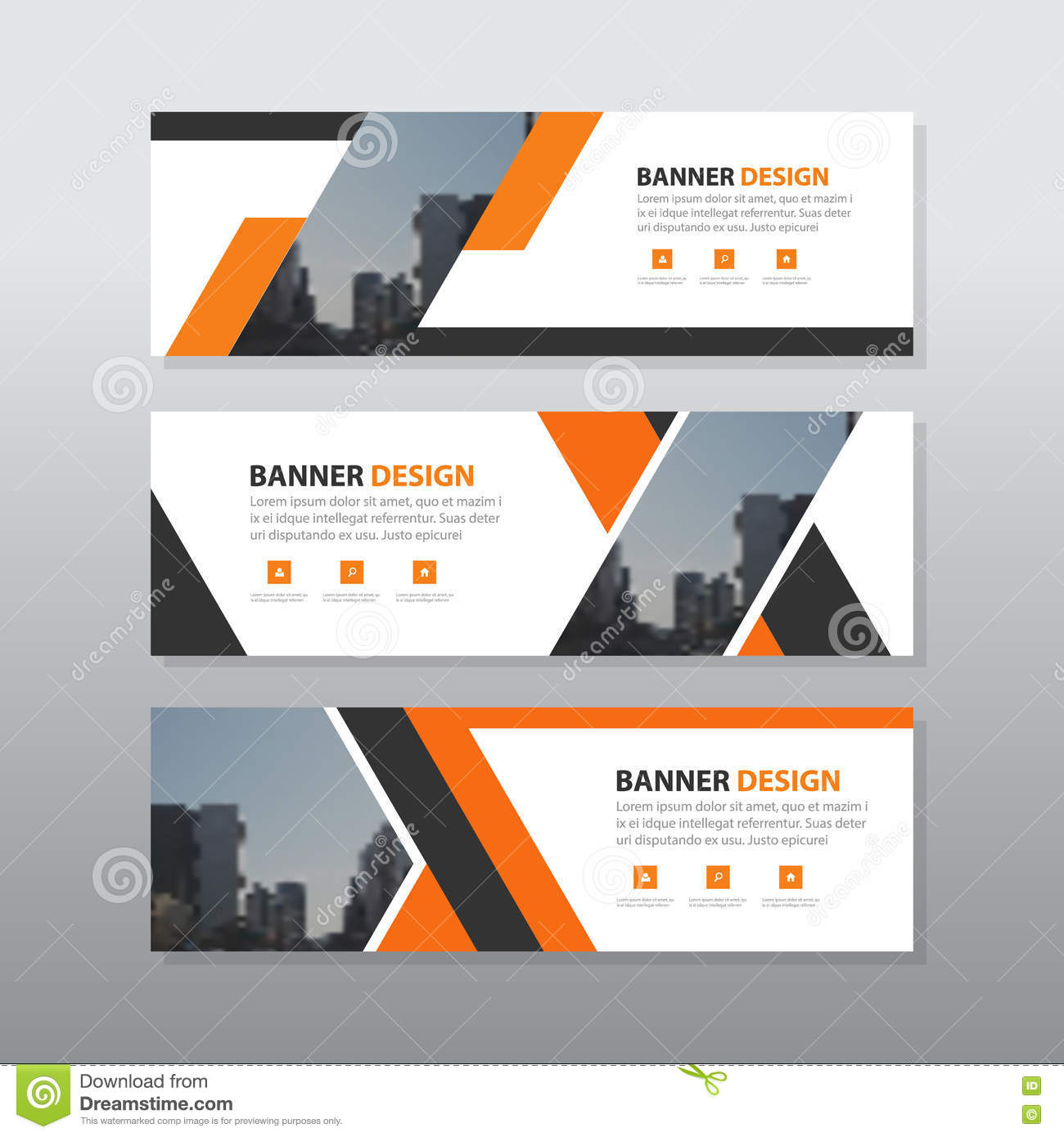 orange black abstract corporate business banner template horizontal