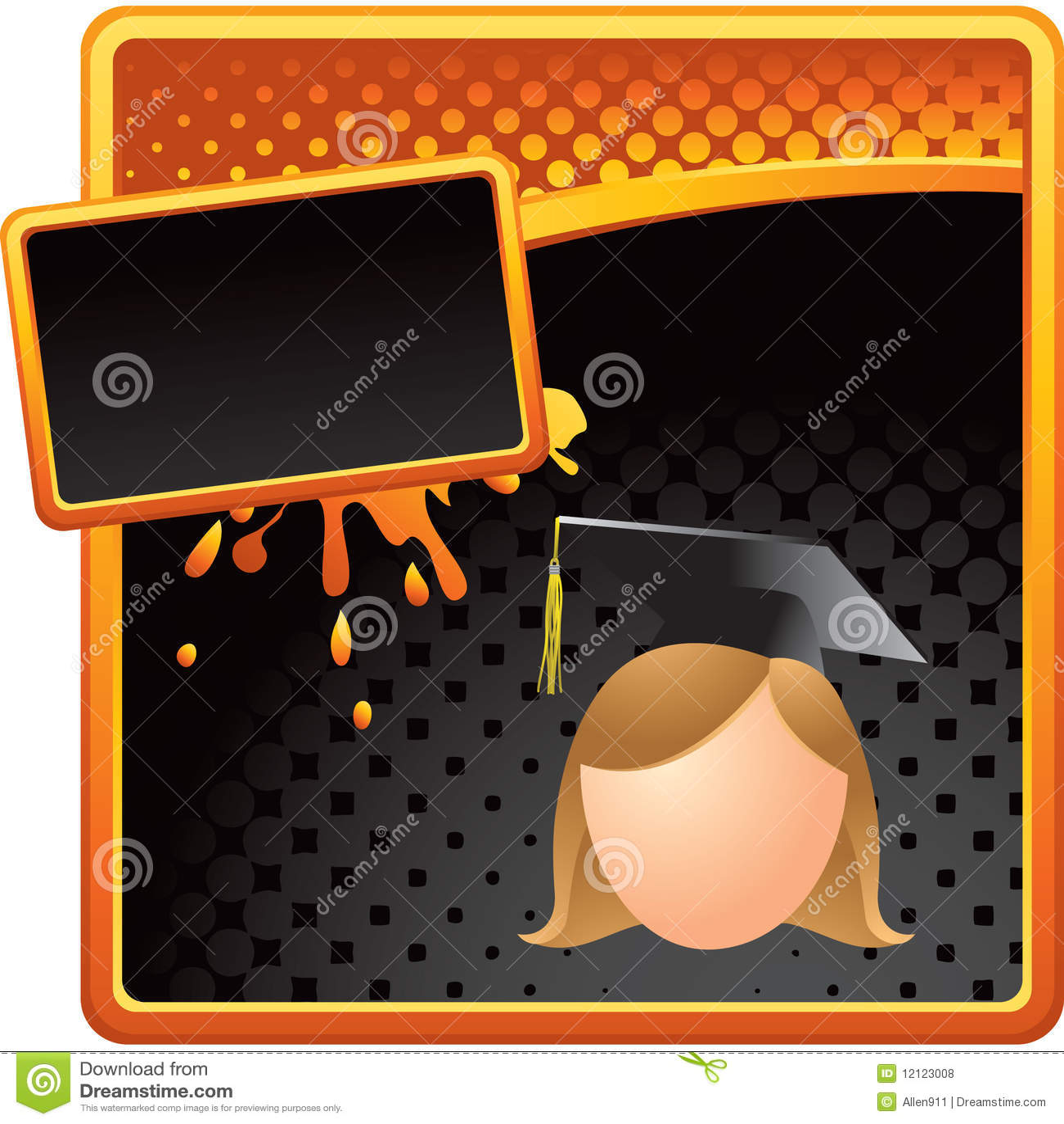Orange and black ad with cartoon graduate girl