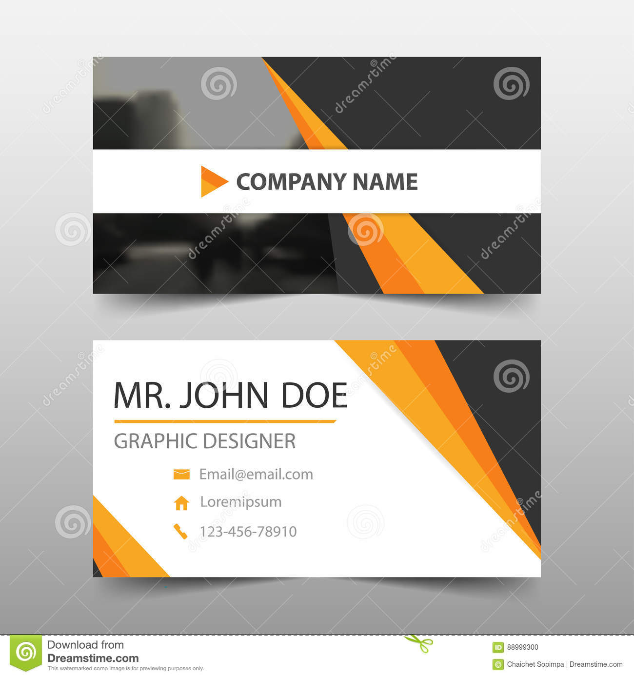 orange black corporate business card  name card template
