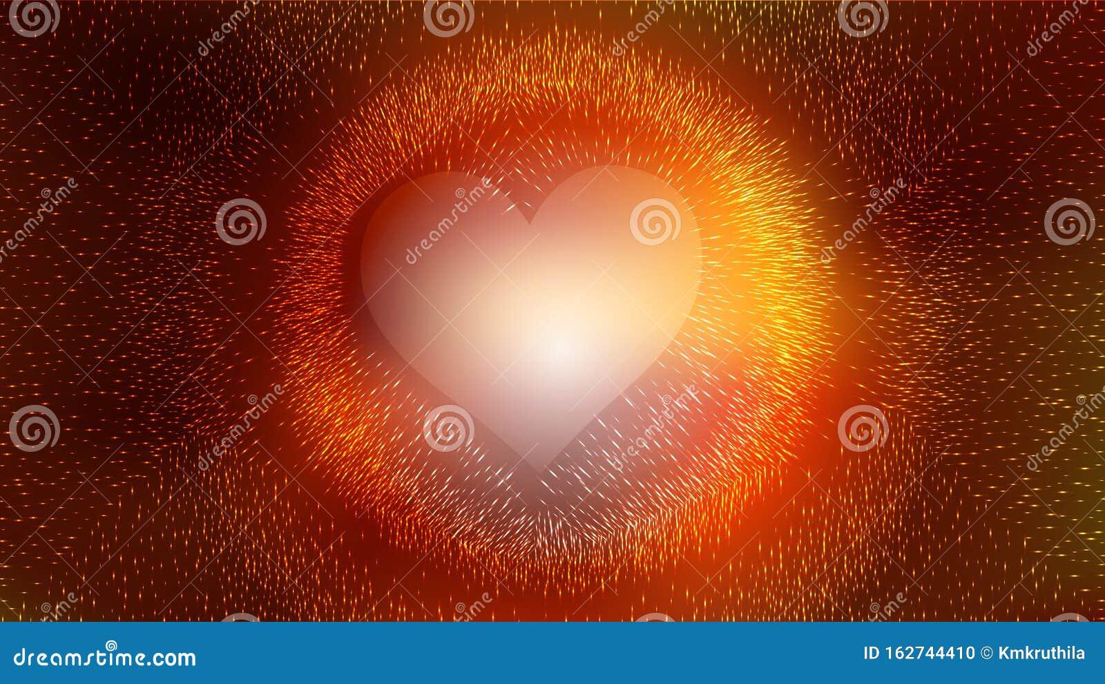 Orange And Black Heart Wallpaper Background Stock Vector