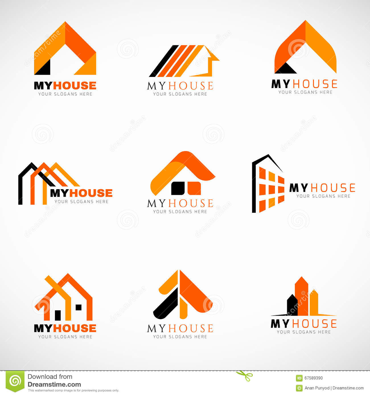 Orange And Black House Logo Set Vector Design Stock Vector