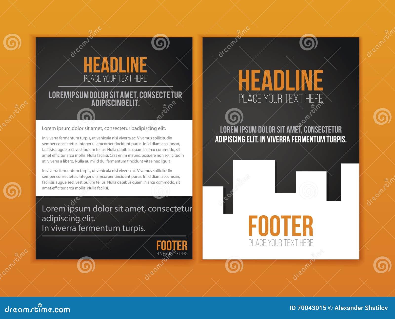 orange black leaflet brochure flyer template book cover