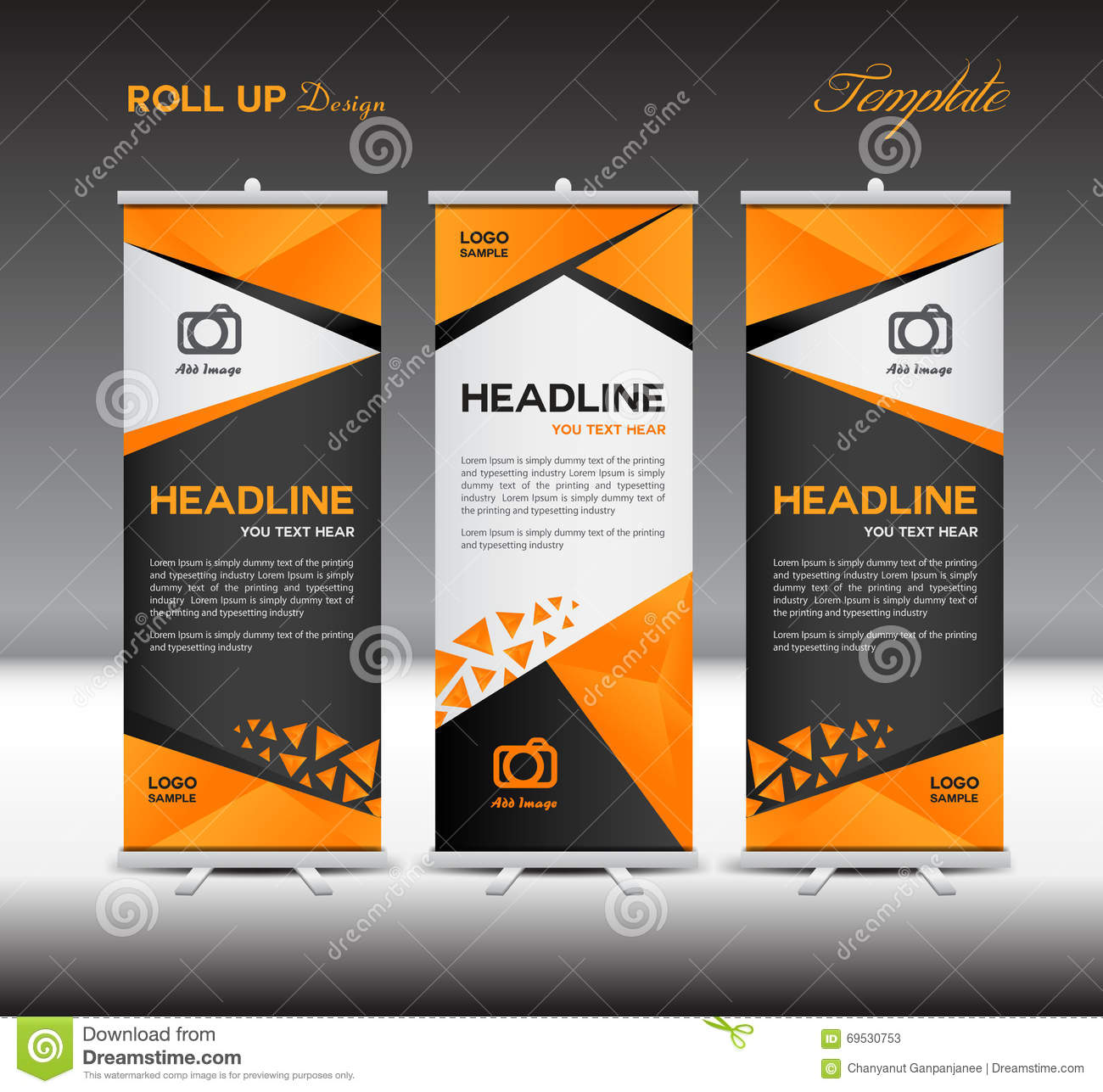 orange and black roll up banner template stand templatevector