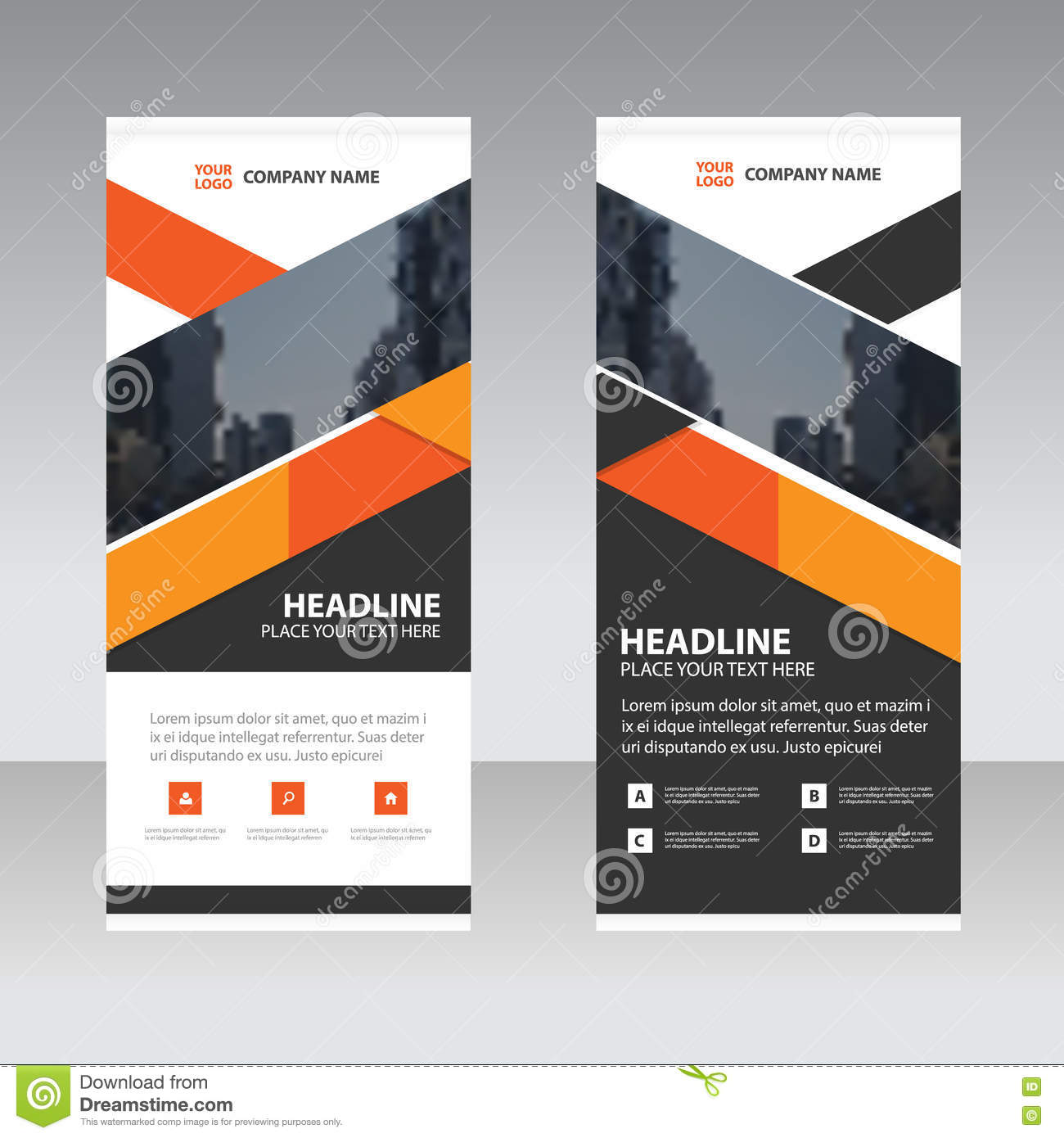 orange black triangle business roll up banner flat design. Black Bedroom Furniture Sets. Home Design Ideas