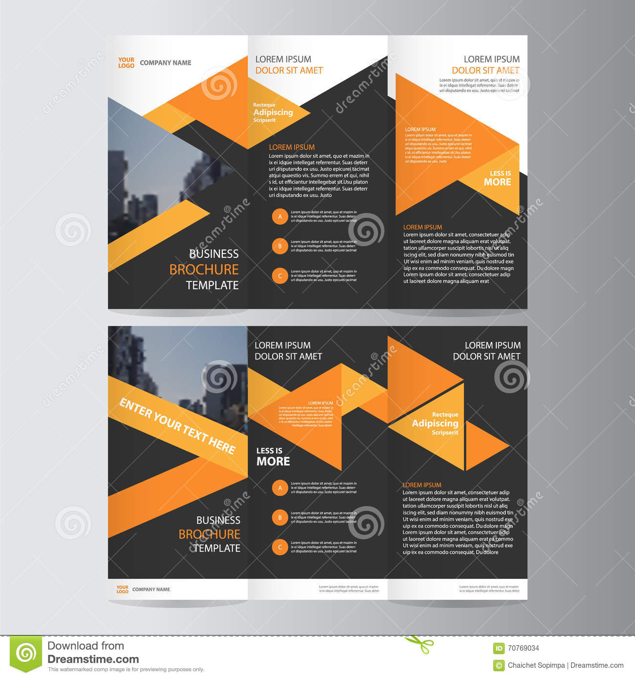 orange black trifold leaflet brochure flyer template design, book, Presentation templates