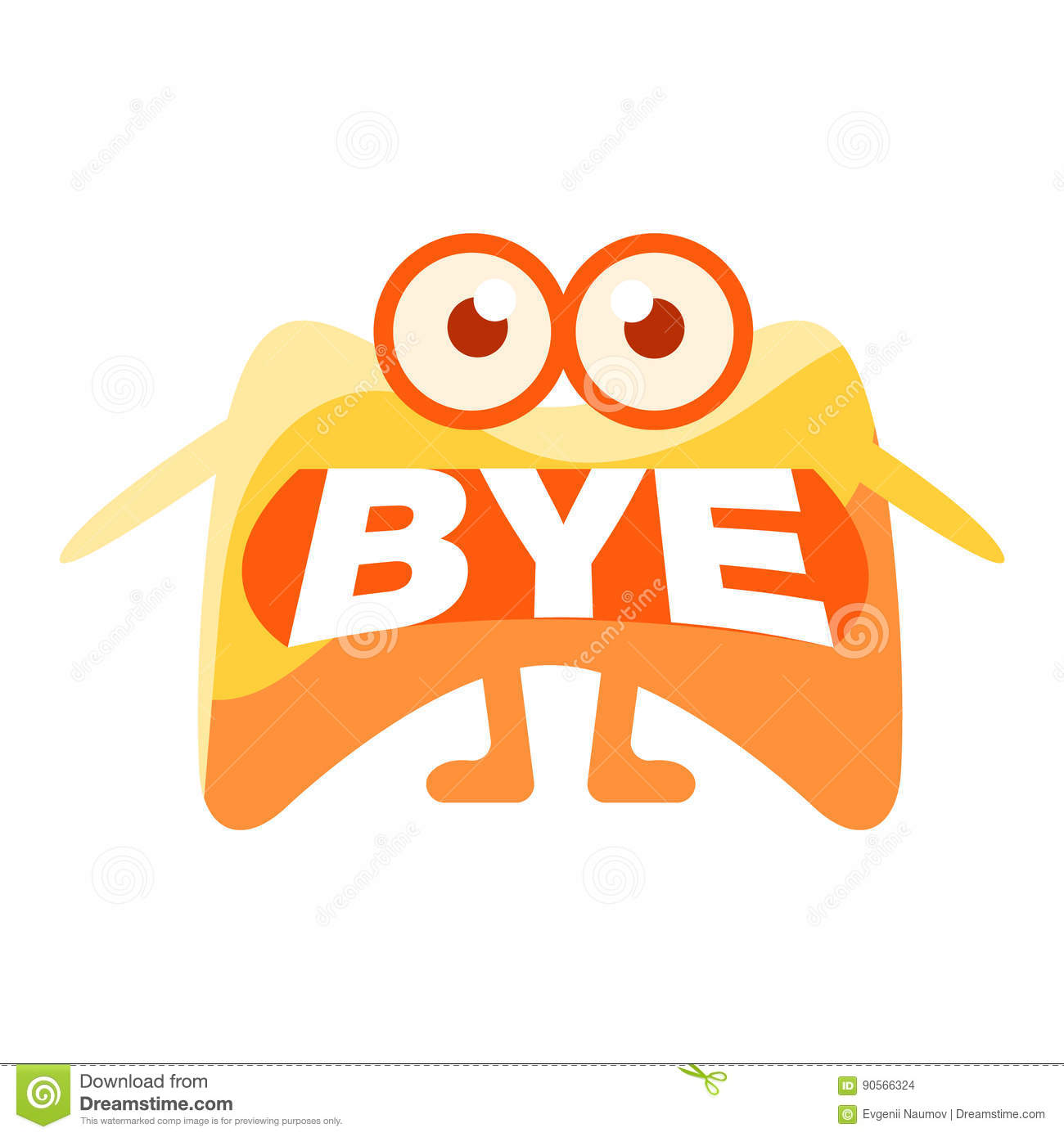 orange blob saying bye cute emoji character with word in the mouth