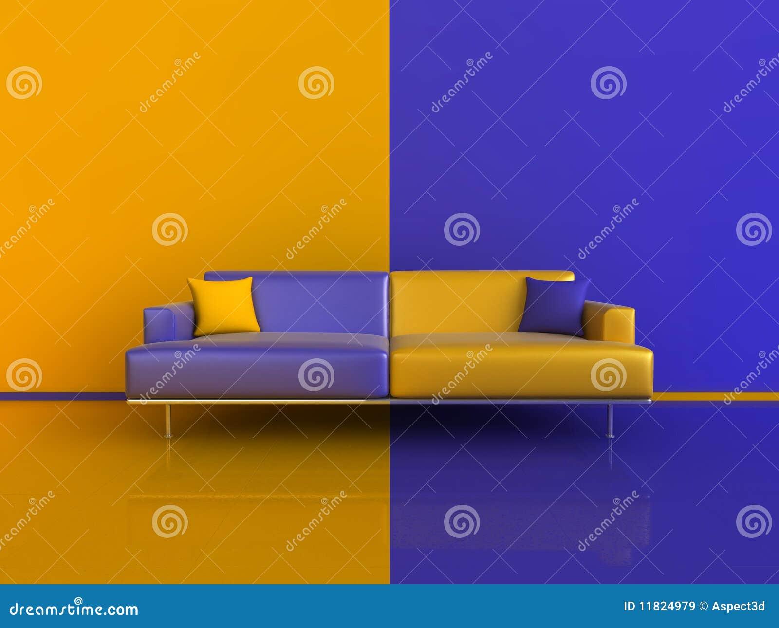 Orange/Blue Contrast Interior Stock Illustration - Illustration of ...