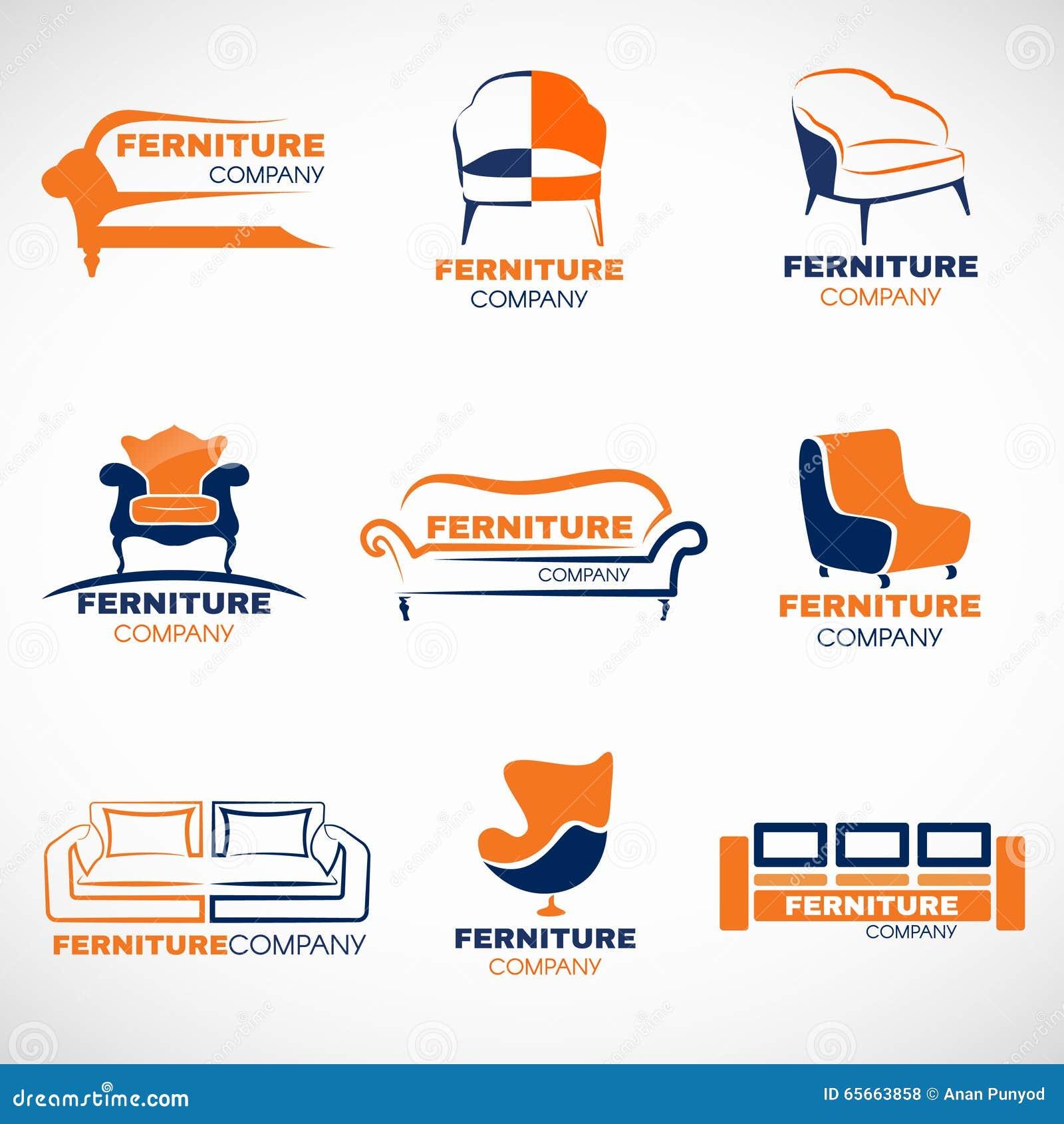 Orange And Blue Furniture Logo Vector Set Design Stock