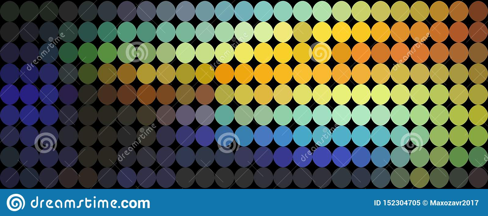 Orange blue yellow gradient dots abstract pattern. Mosaic holographic background.