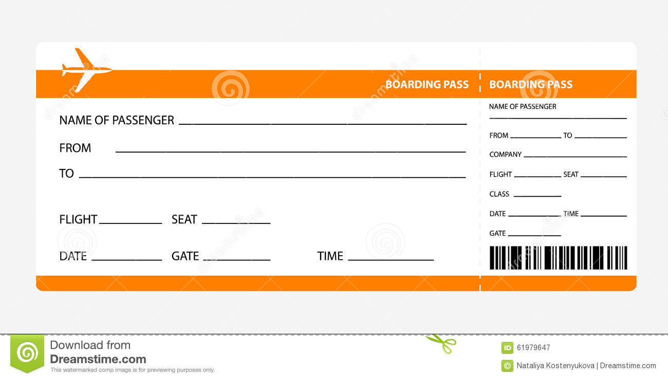 Orange Boarding Pass  Printable Blank Tickets