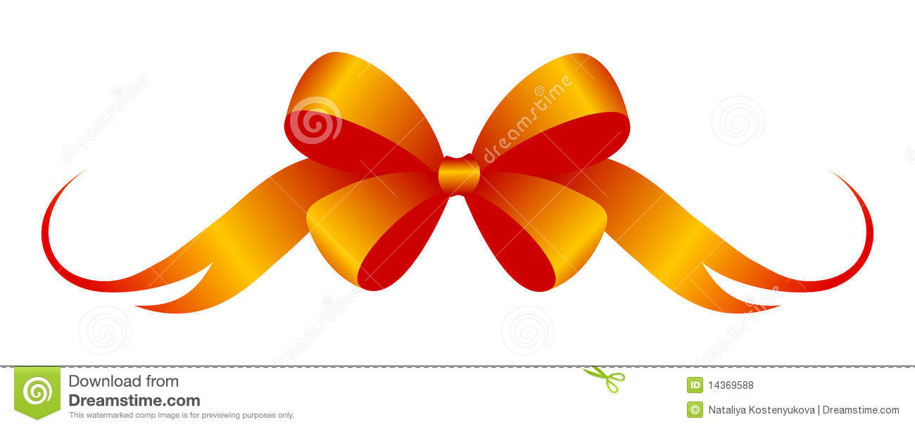 Celebratory red-orange bow. Vector illustration, isolated on a white.