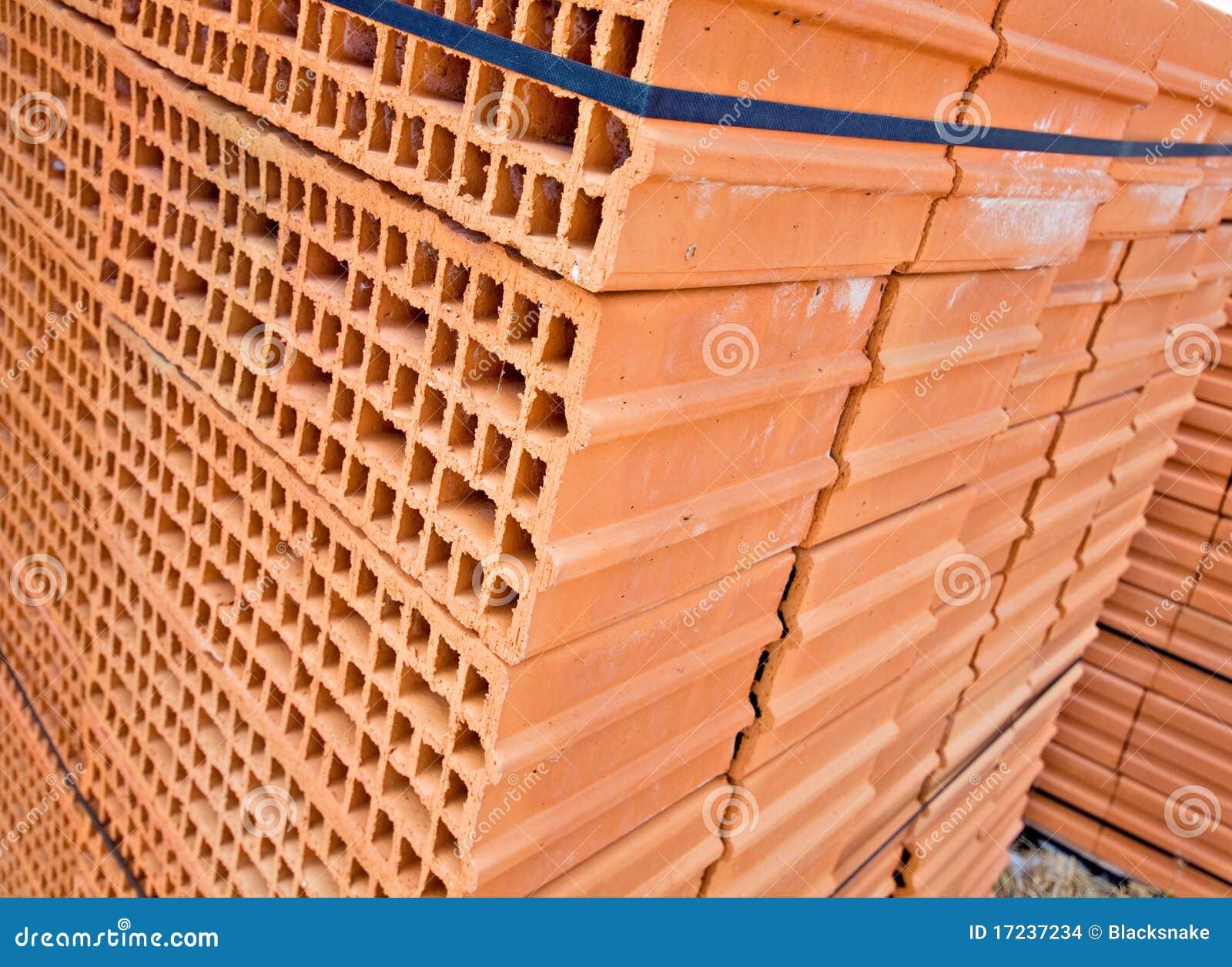 Wall Construction Materials : Orange brick building wall material stock photo image