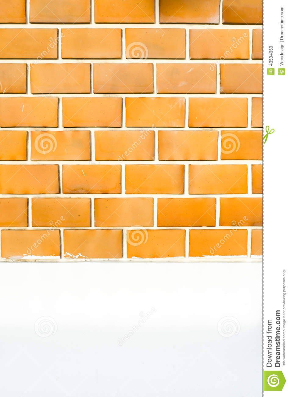 Orange Cement Wall : Orange brick wall with white cement painted and