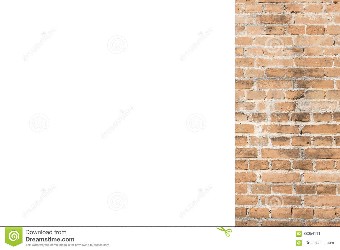Orange brick wall and white space background